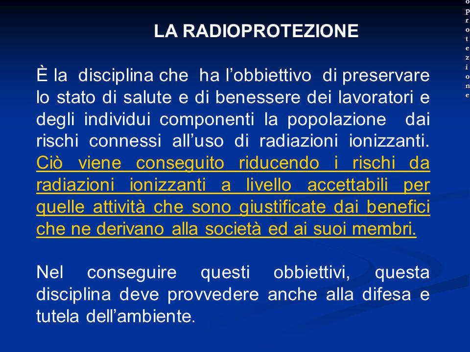 La radioprotezione LA RADIOPROTEZIONE.