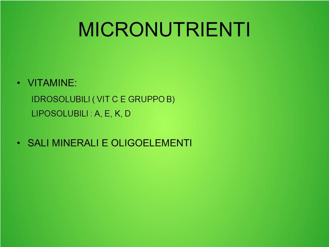 MICRONUTRIENTI VITAMINE: SALI MINERALI E OLIGOELEMENTI
