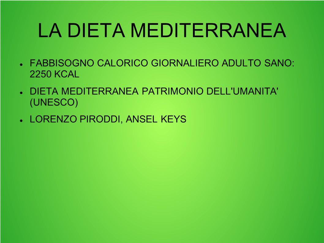 LA DIETA MEDITERRANEA FABBISOGNO CALORICO GIORNALIERO ADULTO SANO: 2250 KCAL. DIETA MEDITERRANEA PATRIMONIO DELL UMANITA (UNESCO)
