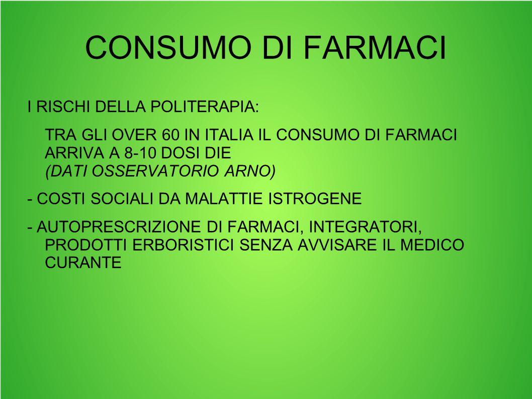 CONSUMO DI FARMACI I RISCHI DELLA POLITERAPIA: