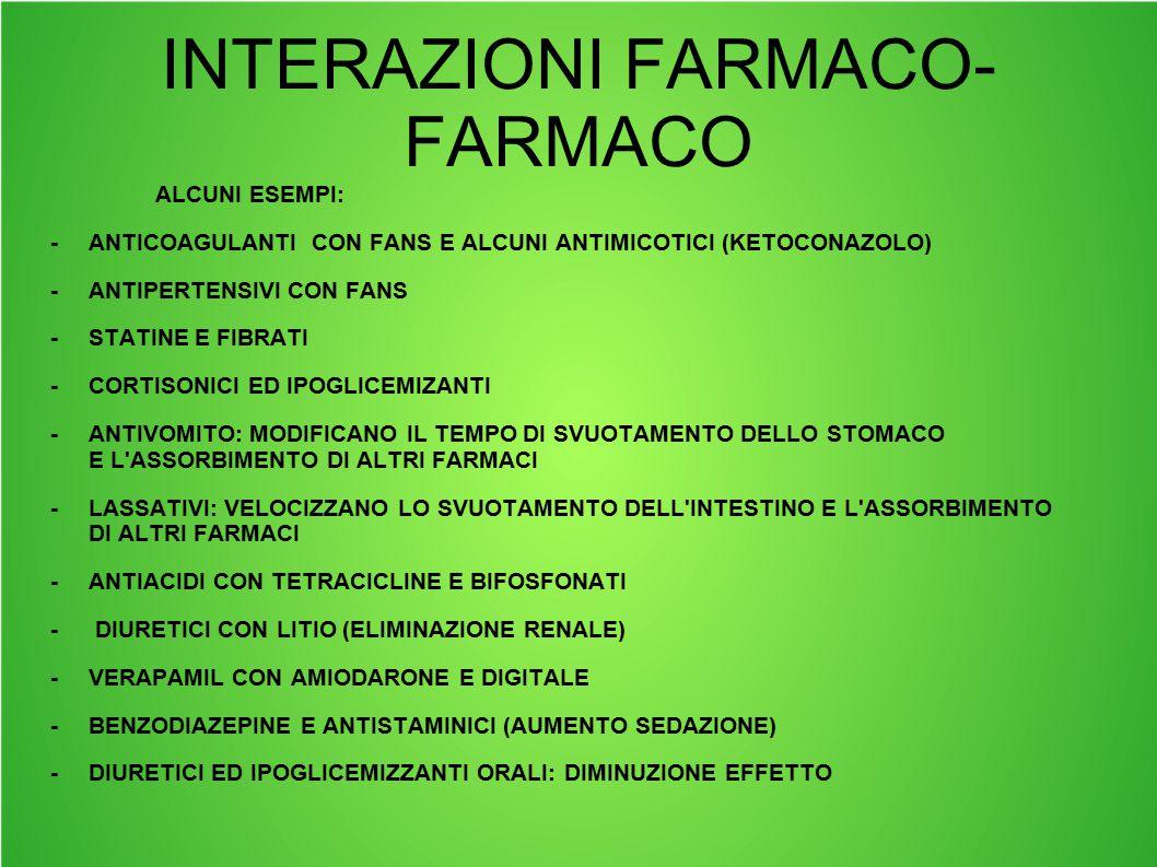 INTERAZIONI FARMACO-FARMACO