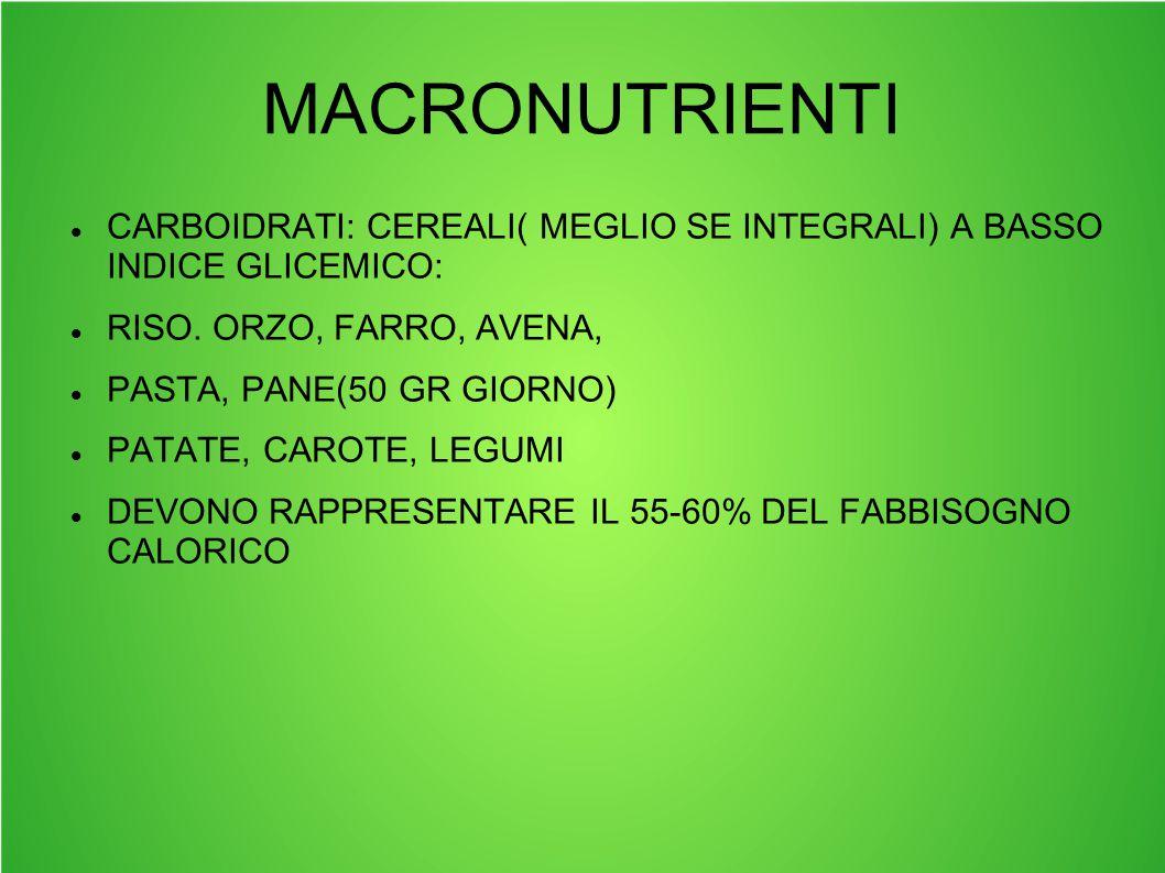 MACRONUTRIENTI CARBOIDRATI: CEREALI( MEGLIO SE INTEGRALI) A BASSO INDICE GLICEMICO: RISO. ORZO, FARRO, AVENA,