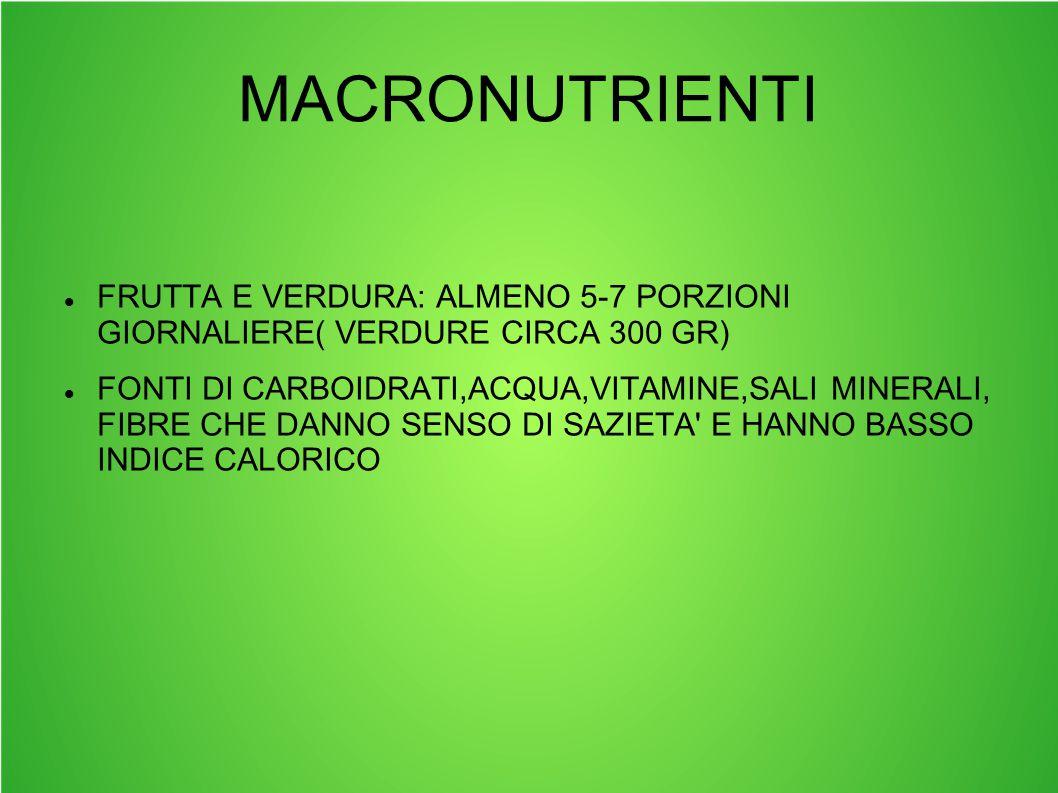MACRONUTRIENTI FRUTTA E VERDURA: ALMENO 5-7 PORZIONI GIORNALIERE( VERDURE CIRCA 300 GR)