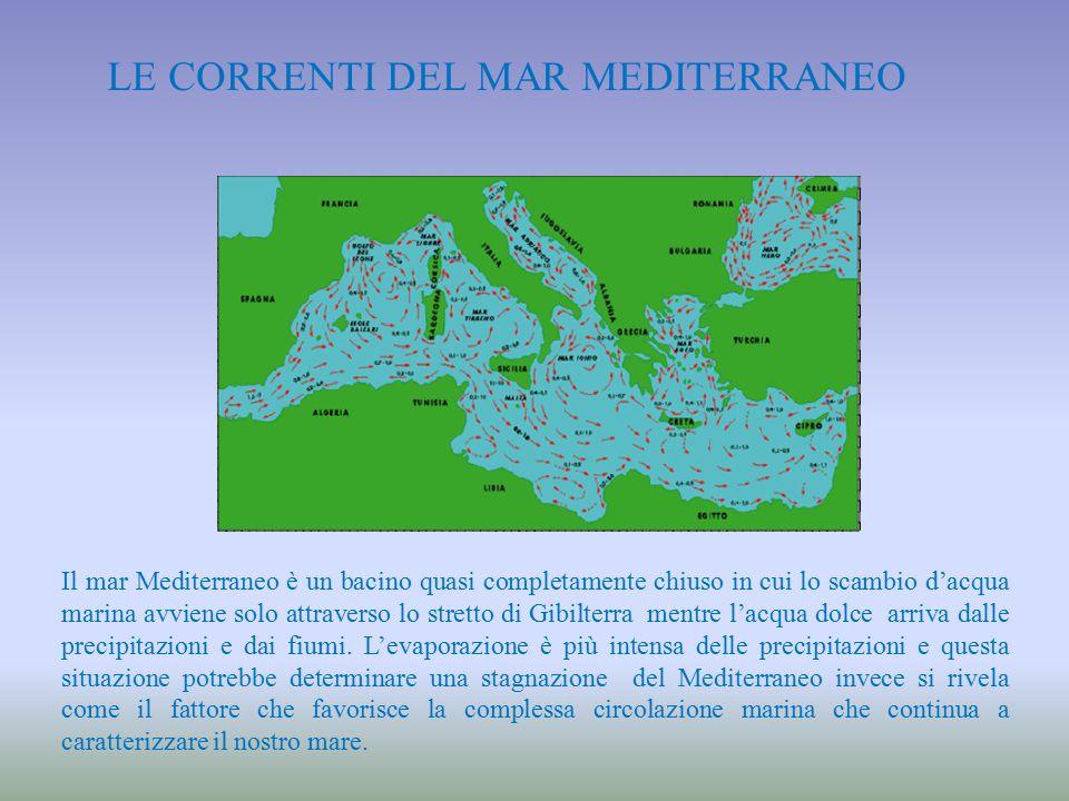 Le correnti del Mar Mediterraneo