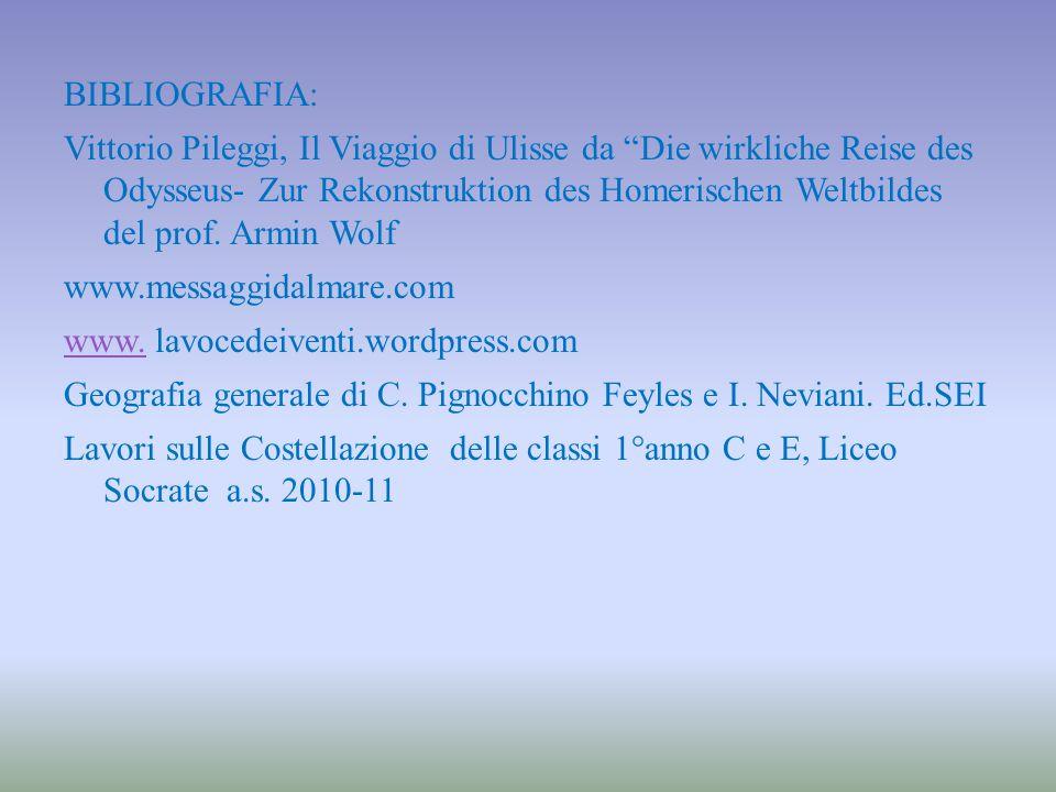 BIBLIOGRAFIA: Vittorio Pileggi, Il Viaggio di Ulisse da Die wirkliche Reise des Odysseus- Zur Rekonstruktion des Homerischen Weltbildes del prof.