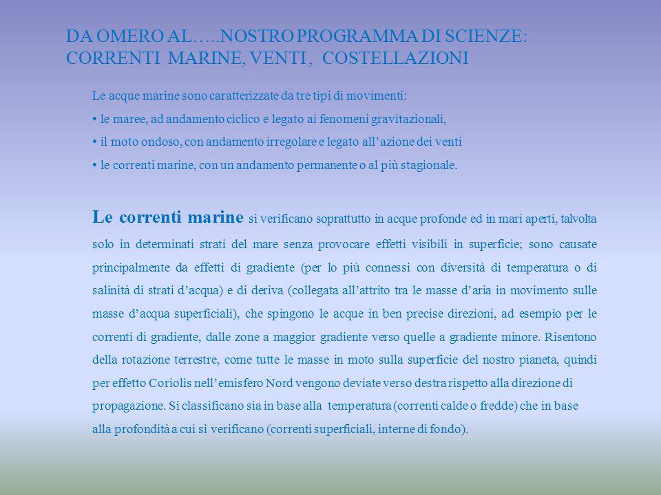 da Omero al…..nostro programma di Scienze: correnti marine, venti , costellazioni
