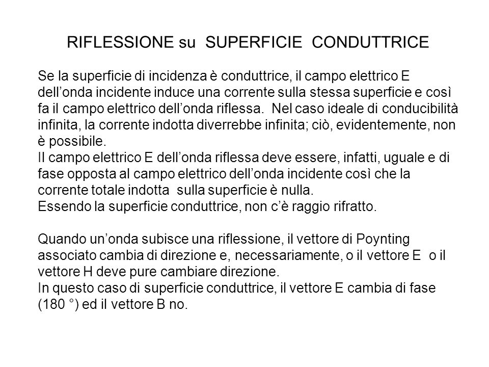 RIFLESSIONE su SUPERFICIE CONDUTTRICE
