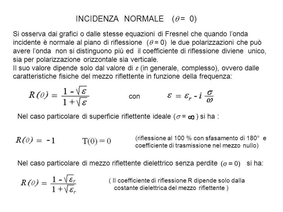 INCIDENZA NORMALE (q = 0)
