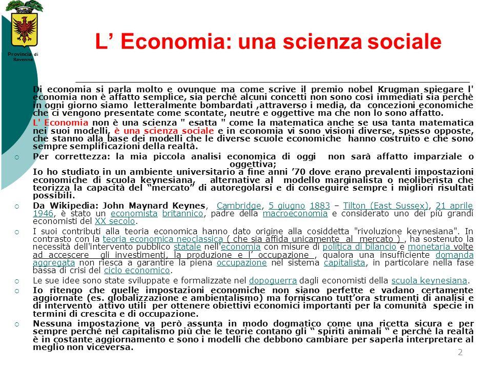 L' Economia: una scienza sociale