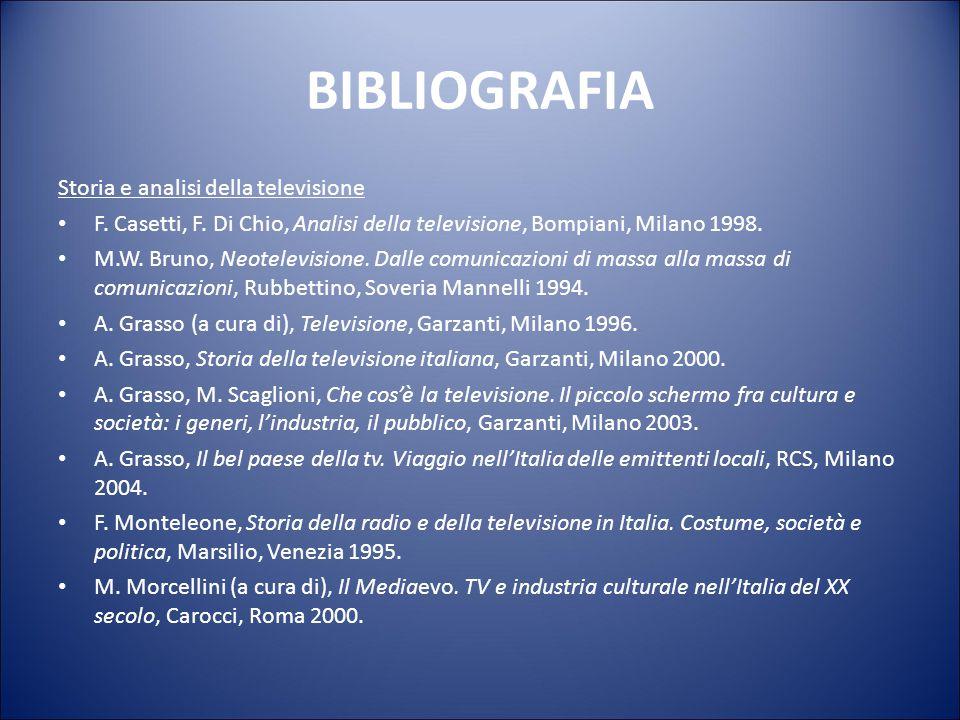 BIBLIOGRAFIA Storia e analisi della televisione