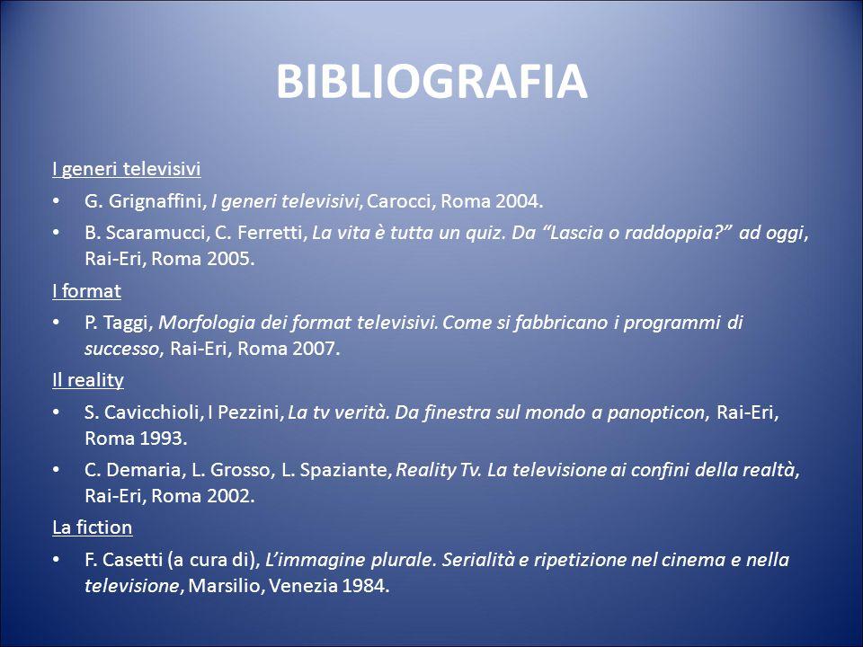 BIBLIOGRAFIA I generi televisivi