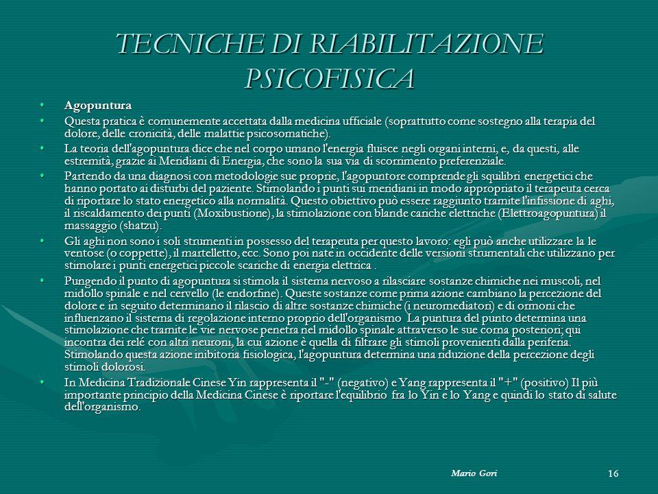 TECNICHE DI RIABILITAZIONE PSICOFISICA
