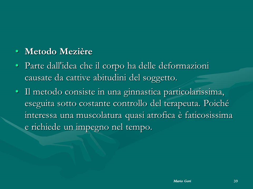 Metodo Mezière Parte dall idea che il corpo ha delle deformazioni causate da cattive abitudini del soggetto.