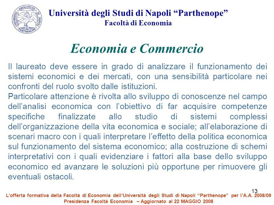 Economia e Commercio Università degli Studi di Napoli Parthenope