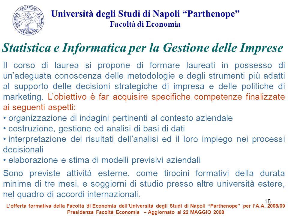 Statistica e Informatica per la Gestione delle Imprese