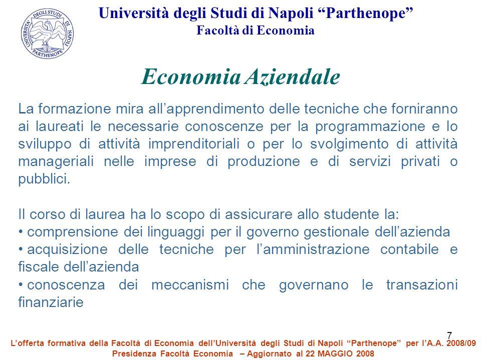 Economia Aziendale Università degli Studi di Napoli Parthenope