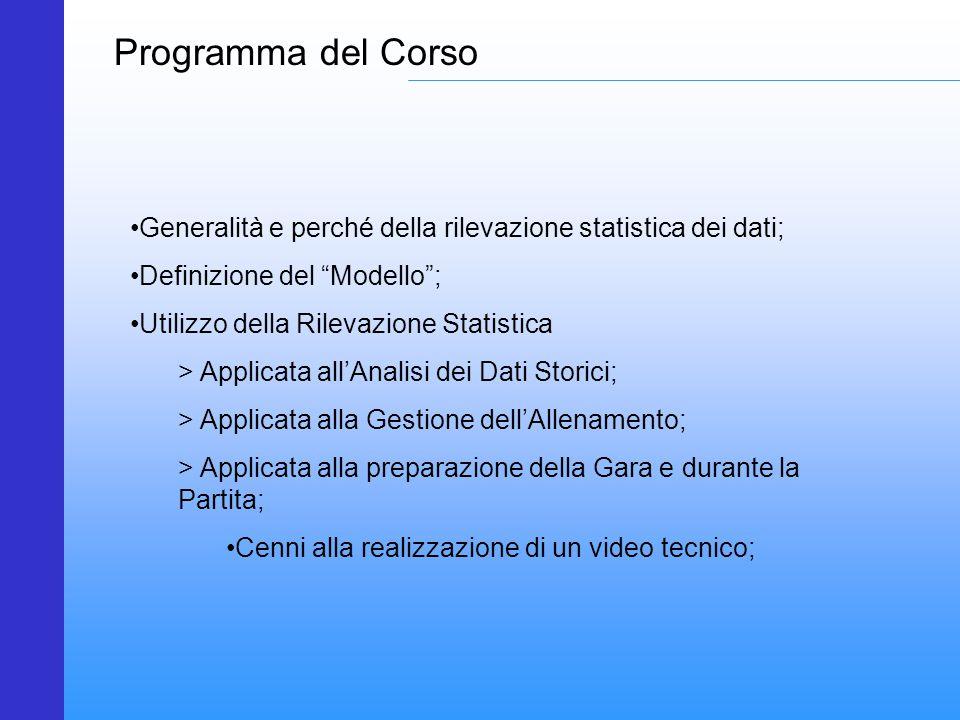 Programma del Corso Generalità e perché della rilevazione statistica dei dati; Definizione del Modello ;