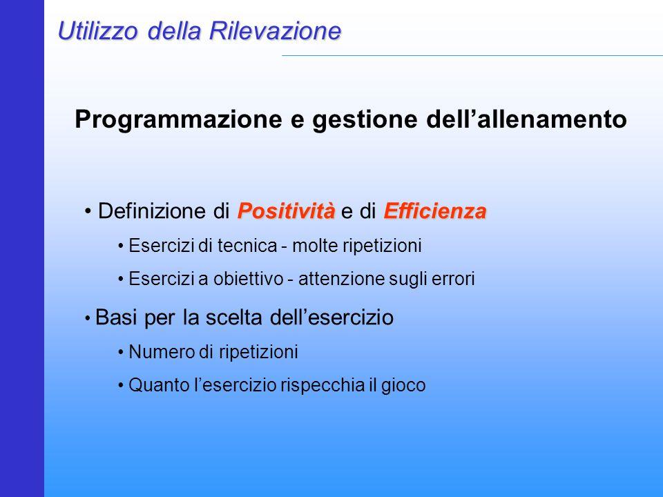 Programmazione e gestione dell'allenamento