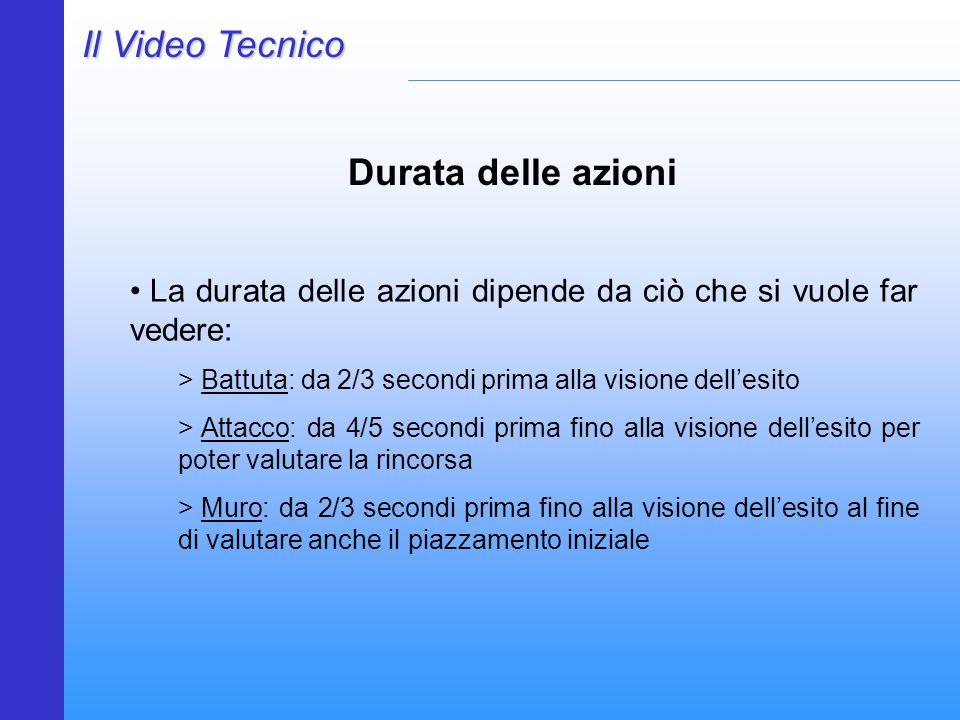 Il Video Tecnico Durata delle azioni