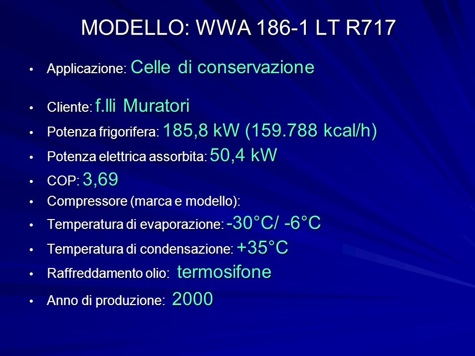 MODELLO: WWA 186-1 LT R717 Applicazione: Celle di conservazione
