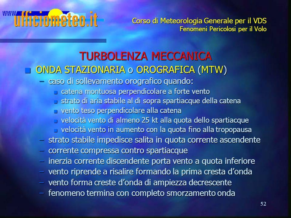TURBOLENZA MECCANICA ONDA STAZIONARIA o OROGRAFICA (MTW)