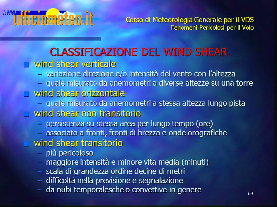 CLASSIFICAZIONE DEL WIND SHEAR