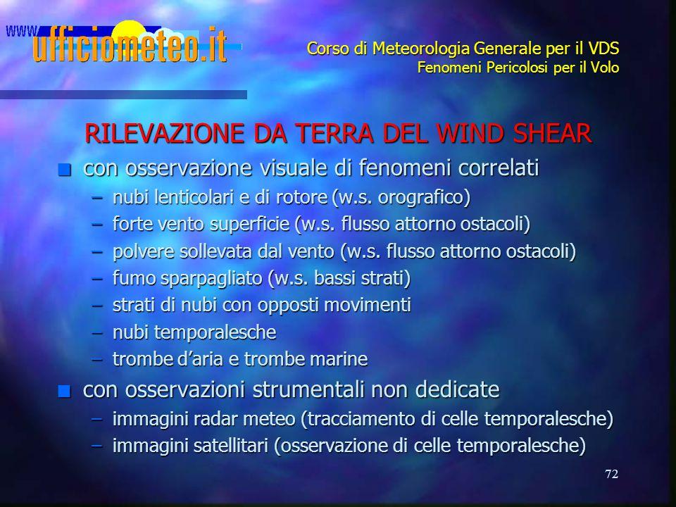 RILEVAZIONE DA TERRA DEL WIND SHEAR