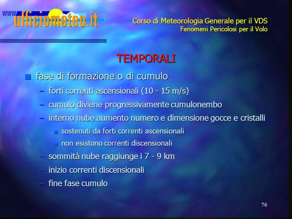 TEMPORALI fase di formazione o di cumulo
