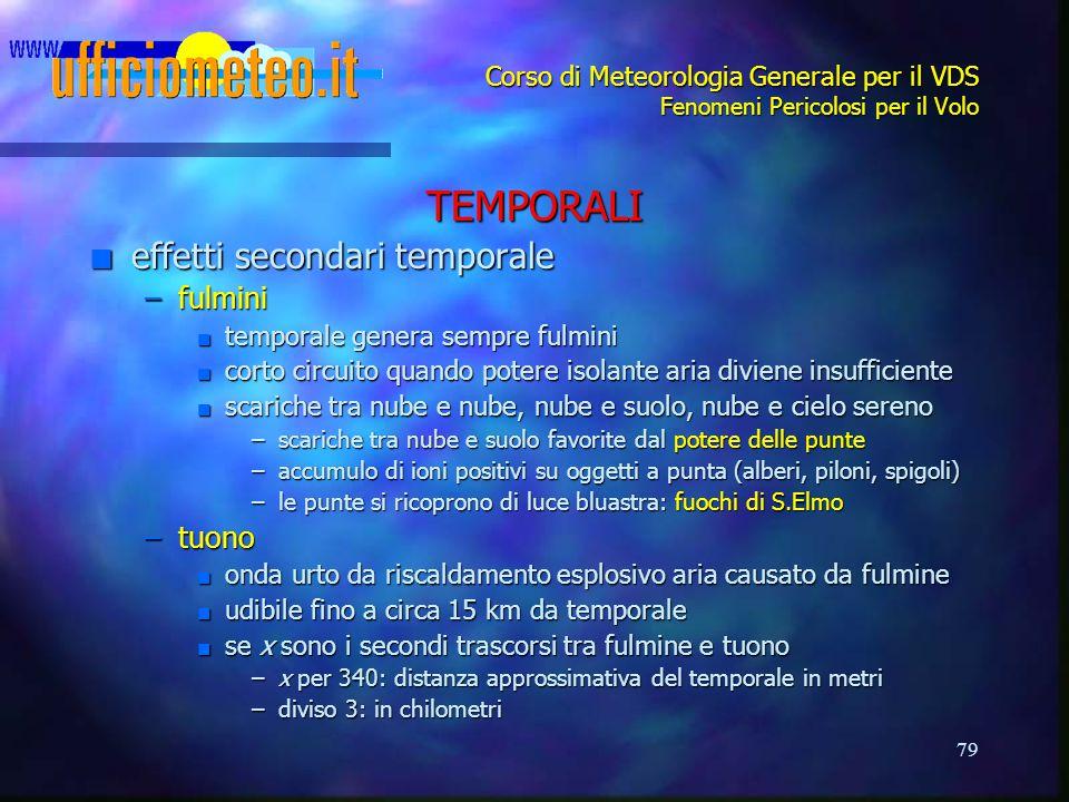 TEMPORALI effetti secondari temporale fulmini tuono