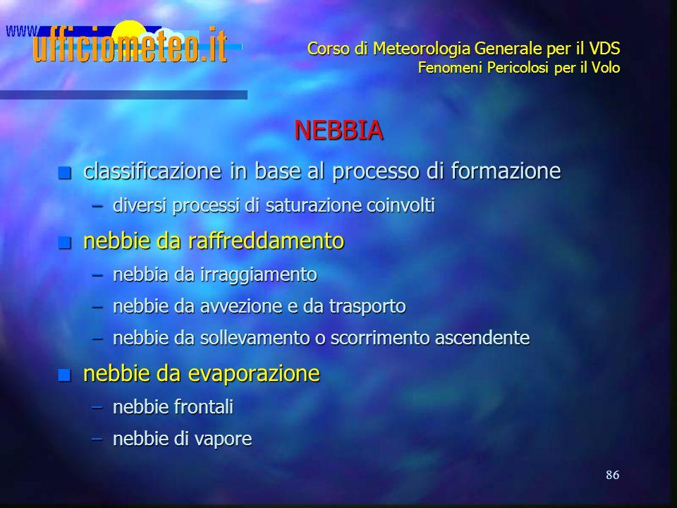 NEBBIA classificazione in base al processo di formazione