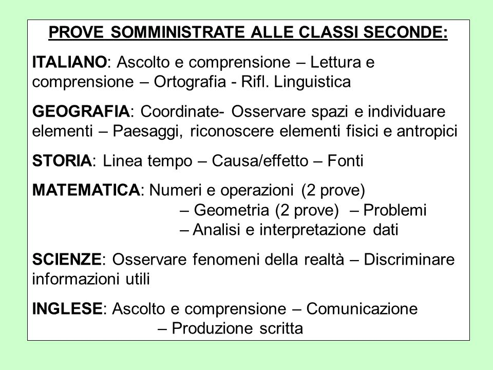 PROVE SOMMINISTRATE ALLE CLASSI SECONDE: