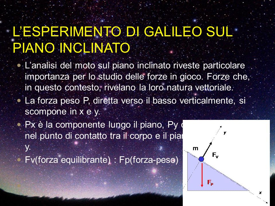 L'ESPERIMENTO DI GALILEO SUL PIANO INCLINATO