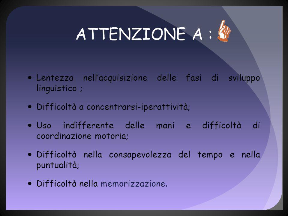 ATTENZIONE A : Lentezza nell'acquisizione delle fasi di sviluppo linguistico ; Difficoltà a concentrarsi-iperattività;