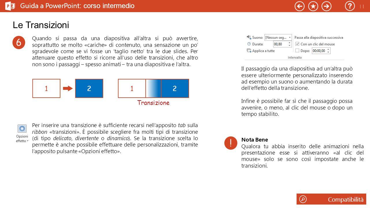 Le Transizioni 6 ! Guida a PowerPoint: corso intermedio 1 2 1 2 