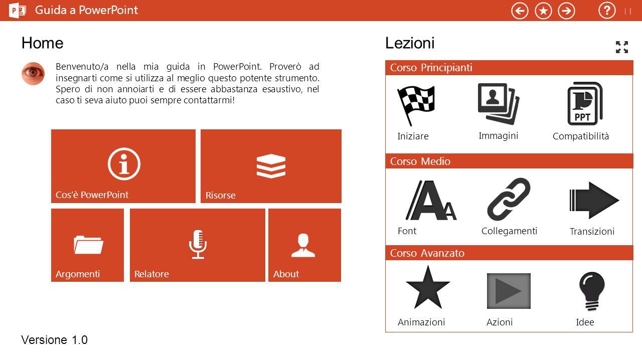 Home Lezioni Guida a PowerPoint Versione 1.0  Corso Principianti