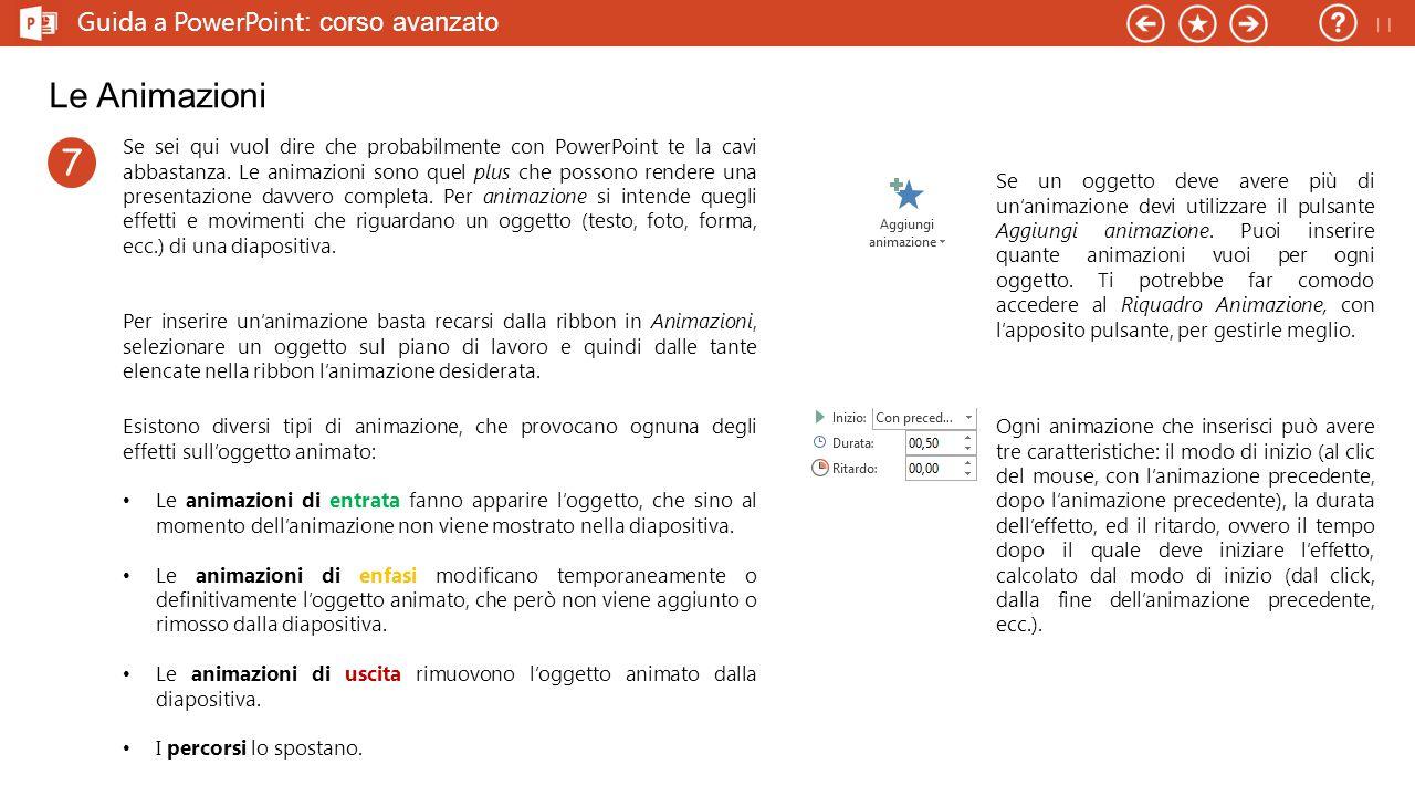 Le Animazioni 7 Guida a PowerPoint: corso avanzato 