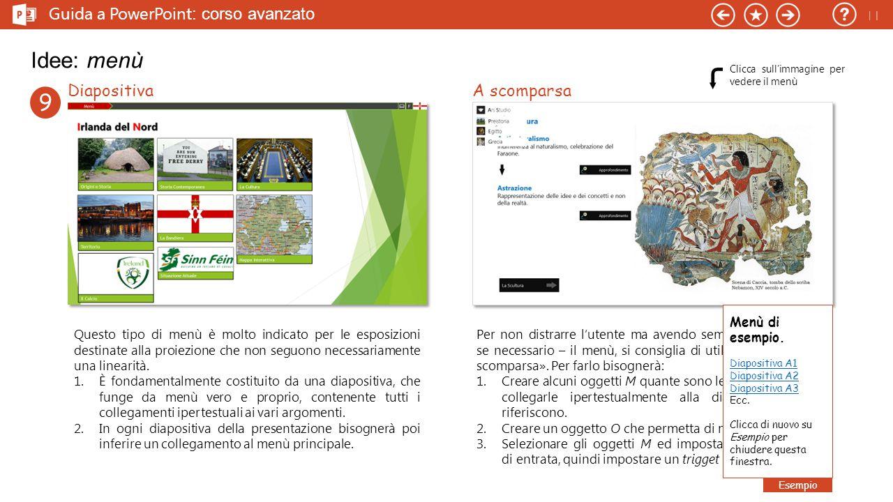 Idee: menù 9 Guida a PowerPoint: corso avanzato Diapositiva