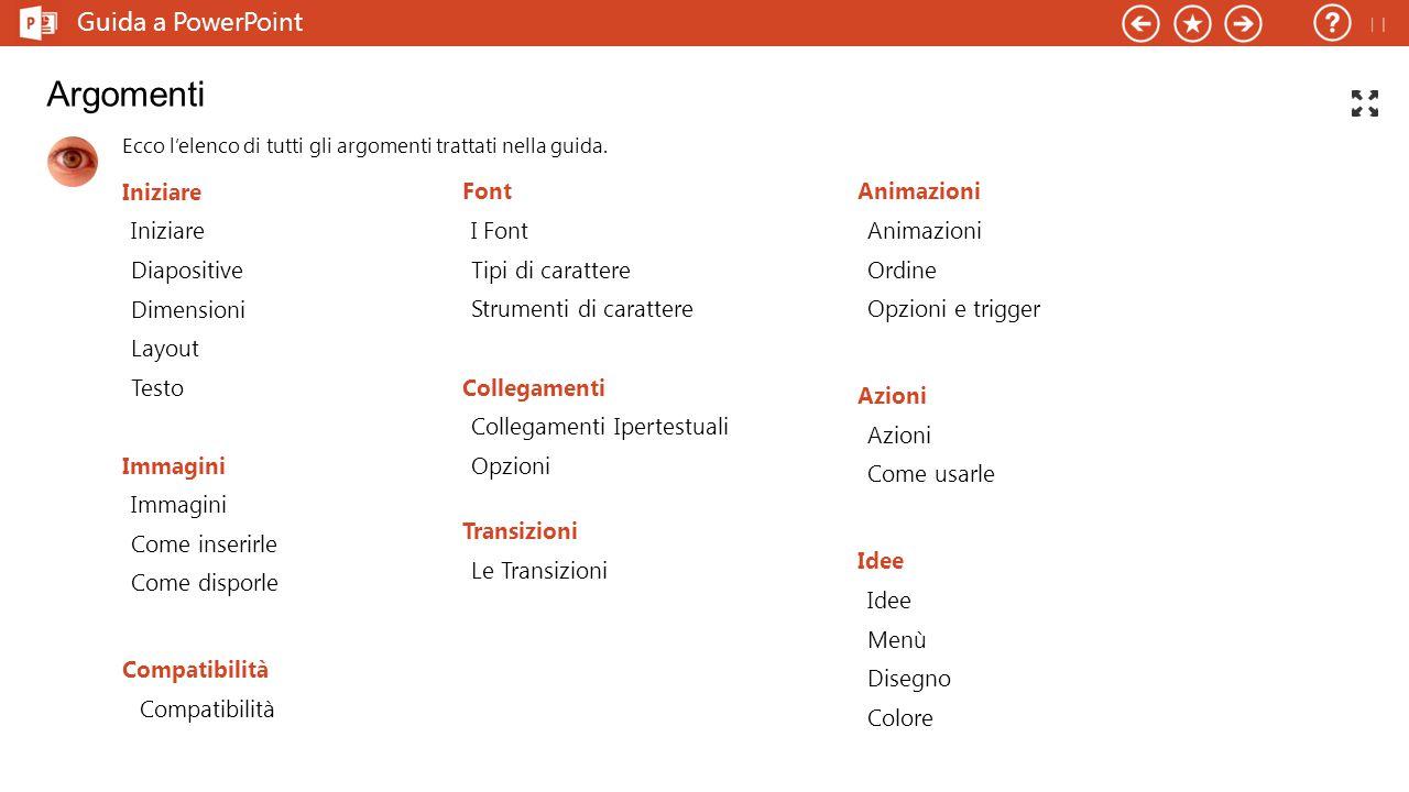 Argomenti Guida a PowerPoint  Iniziare Font Animazioni Iniziare