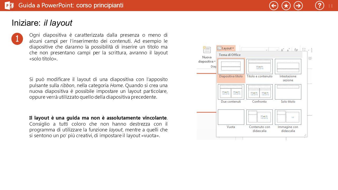 Iniziare: il layout 1 Guida a PowerPoint: corso principianti 