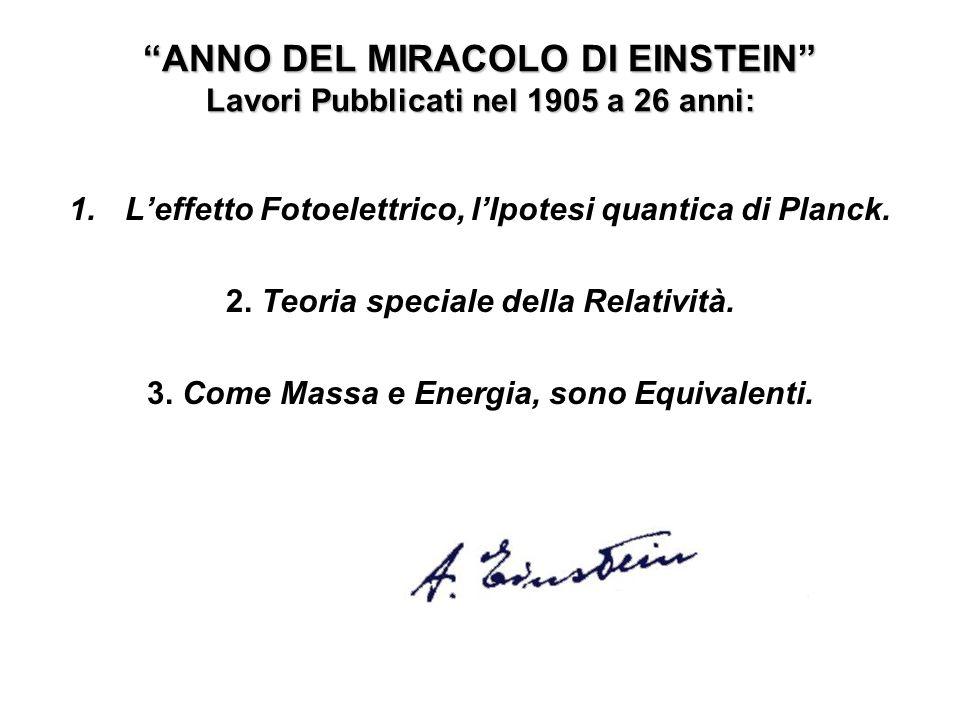 ANNO DEL MIRACOLO DI EINSTEIN Lavori Pubblicati nel 1905 a 26 anni: