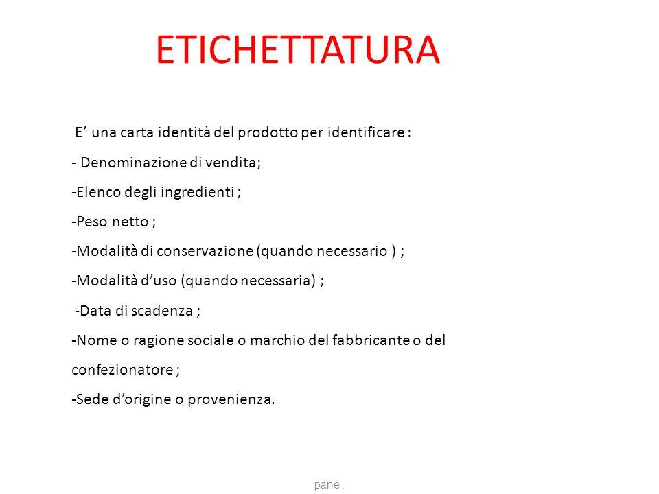 ETICHETTATURA E' una carta identità del prodotto per identificare :