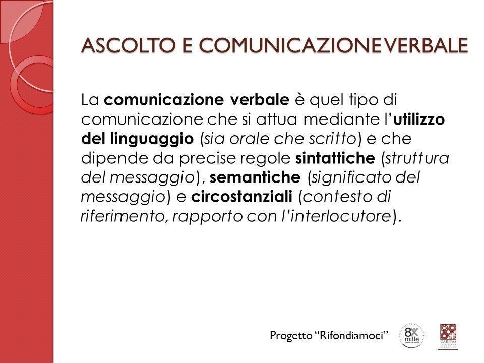 ASCOLTO E COMUNICAZIONE VERBALE