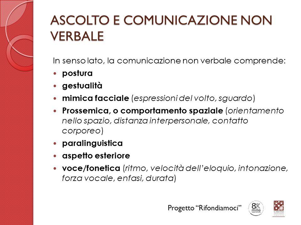 ASCOLTO E COMUNICAZIONE NON VERBALE