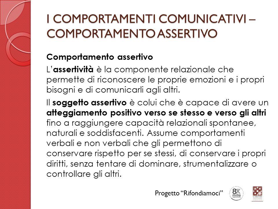 I COMPORTAMENTI COMUNICATIVI – COMPORTAMENTO ASSERTIVO