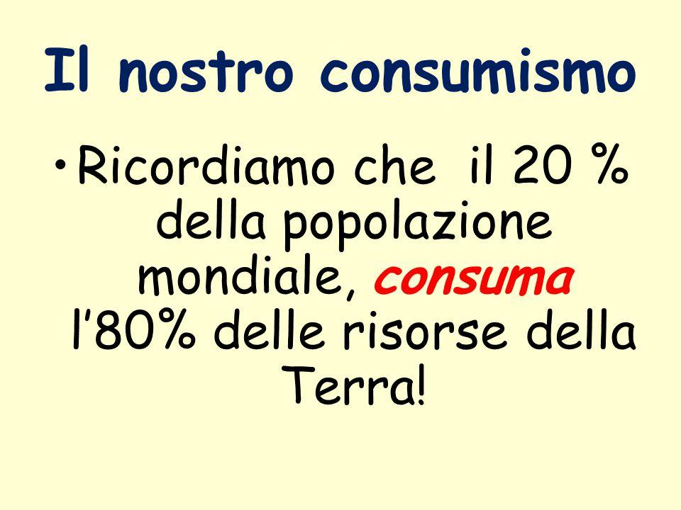 Il nostro consumismo Ricordiamo che il 20 % della popolazione mondiale, consuma l'80% delle risorse della Terra!