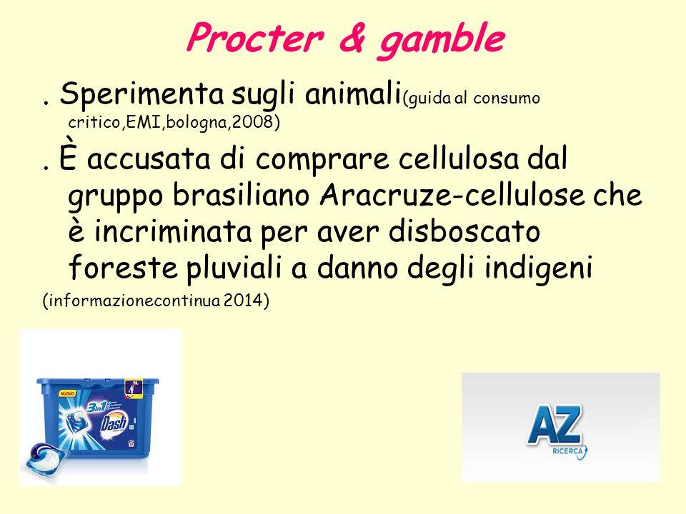Procter & gamble . Sperimenta sugli animali(guida al consumo critico,EMI,bologna,2008)