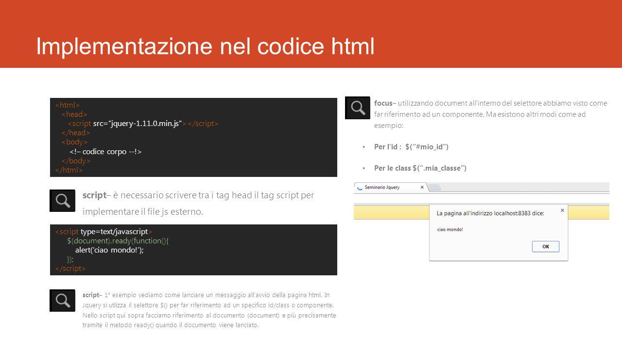 Implementazione nel codice html