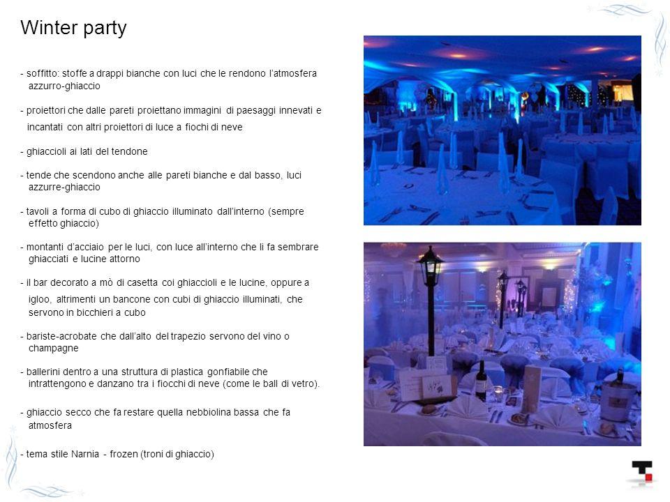 Winter party - soffitto: stoffe a drappi bianche con luci che le rendono l'atmosfera. azzurro-ghiaccio.