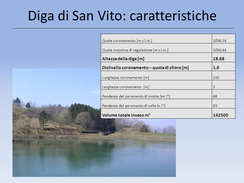 Diga di San Vito: caratteristiche