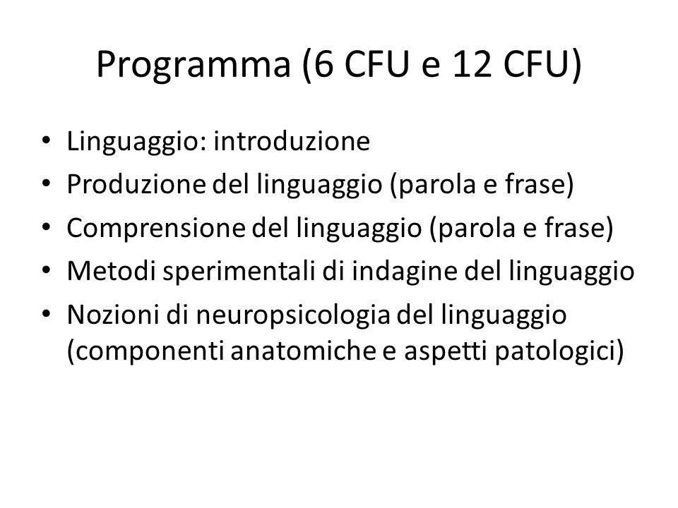 Programma (6 CFU e 12 CFU) Linguaggio: introduzione
